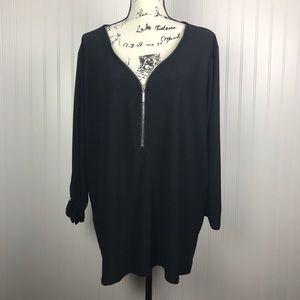 89th & Madison Black V Zipper Neck 3/4 Sleeve
